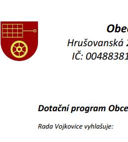 OZNÁMENÍ: Dotační program Obce Vojkovice pro rok 2019