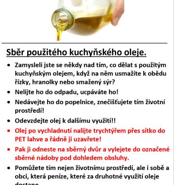Sběr použitého kuchyňského oleje